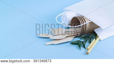 Zero Waste Concept, Eco Biodegradable Tableware And Cutlery In Paper Bag