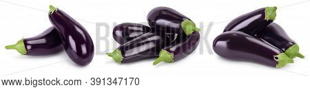 Eggplant Or Aubergine Isolated On White Background With Clipping Path And Full Depth Of Field. Set O