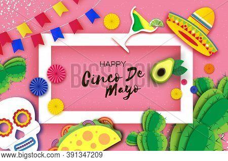 Happy Cinco De Mayo Banner In Paper Cut Style. Origami Fan, Skull, Tacos. Cactus And Sombrero. Mexic