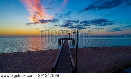 Sunset At Bayfront Park Pier On Mobile Bay In October Of 2020