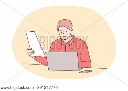 Business, Work, Online, Freelance, Recruitment Concept. Man Manager Freelancer Cartoon Character Wor