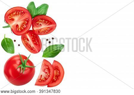 Tomato Slices With Basil And Peppercorns Isolated On White Background. Clipping Path. Top View With