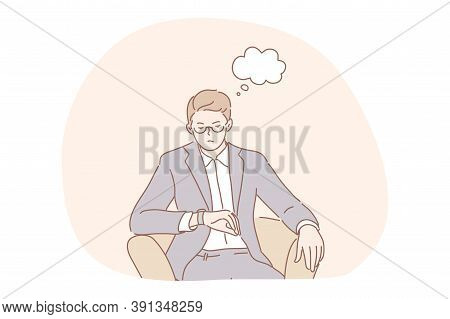 Meeting, Delay, Business Concept. Impatiend Displeased Businessman Leader Ceo Manager Boss Waits For