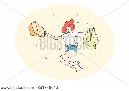 Success, Shopping, Purchase Concept. Successful Bargain And Purchasing Sale Goods Commercial Discoun