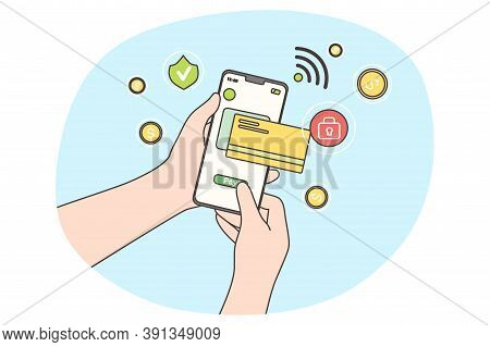 Online Payment, Technology, Shopping Concept. Paying Transaction By Credit Card Via Electronic Walle