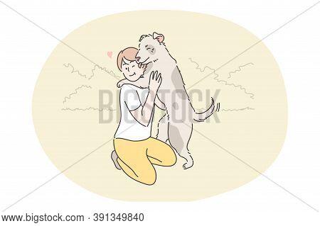 Recreation, Resting, Play, Pet, Embrace, Friendship, Love, Devotion, Childhood Concept. Boy Child Ki