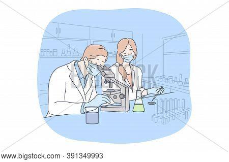 Science, Virus, Coronavirus, Medicine Concept. Team Of Man Woman Doctors Scientists Workers In Medic