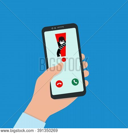 A Hacker Hacks A Smartphone. Spam Call To Your Smartphone. The Concept Of Spam Data, Insecure Connec