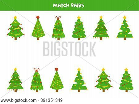 Matching Game For Kids. Find Pair To Each Fir Tree.