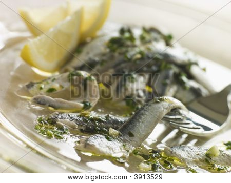 Anchovies Marinated In Herbs Garlic And Lemon