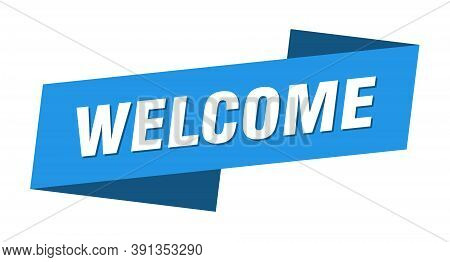 Welcome Banner Template. Welcome Ribbon Label Sign