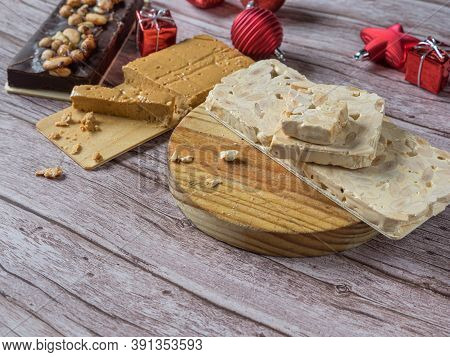 Turron, Traditional Christmas Dessert In Spain And Italy. Almond Nougat Typically Made Of Almond And