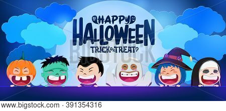 Halloween Kid Vector Banner Background Design. Happy Halloween Text In Moon And Clouds With Scary Cu