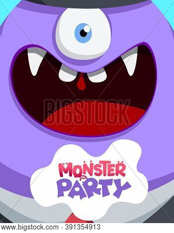 Monster Party Alien Vector Concept Design. Monster Party Text In Creepy Weird Character Creature For
