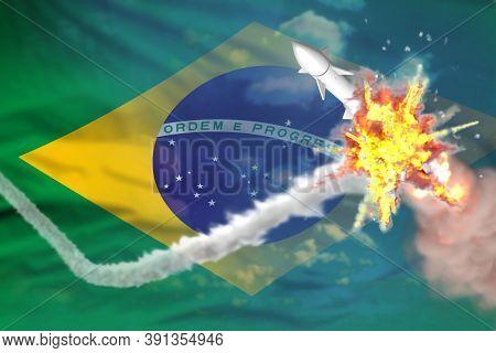 Brazil Intercepted Supersonic Warhead, Modern Antirocket Destroys Enemy Missile Concept, Military In