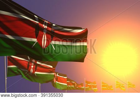 Pretty Many Kenya Flags Placed Diagonal On Sunset With Space For Content - Any Celebration Flag 3d I