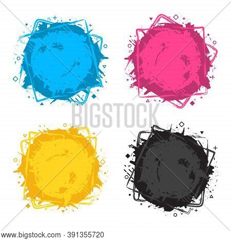 Set Of Four Grunge Splash Banners. Vector Splatter Labels With Space For Text. Grunge Label With Geo