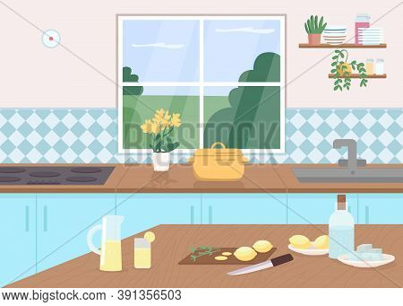 Kitchen Counter Flat Color Vector Illustration. Cut Lemons On Tables. Make Lemonade As Pastime. Cook