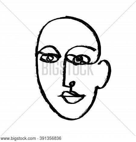 Simple Hand Drawn Abstract Line Continuous Face. Ink Brush Drawing In The Style Of Abstractionism. M