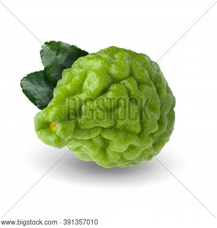 Bergamot Fruit With Leaf Isolated On White Background With Clipping Path.