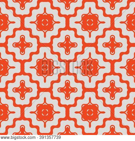 Vector Geometric Seamless Pattern With Wavy Shapes, Curved Lines, Crosses, Grid. Simple Abstract Tex