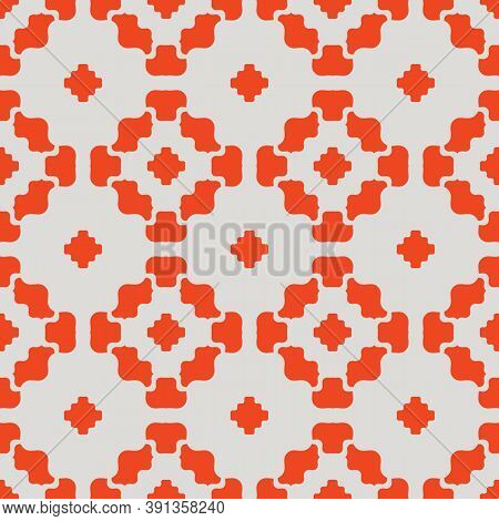 Vector Floral Geometric Seamless Pattern. Simple Ornament With Flower Silhouettes, Curved Shapes, Cr