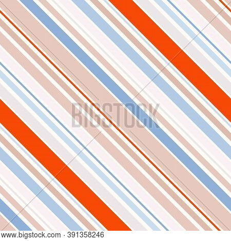 Colorful Vector Diagonal Stripes Pattern. Simple Seamless Texture With Thin And Thick Straight Lines