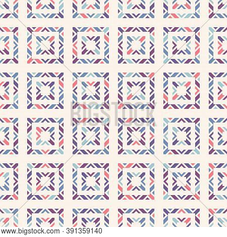 Vector Geometric Ornamental Seamless Pattern. Abstract Colorful Texture With Squares, Triangles, Dia