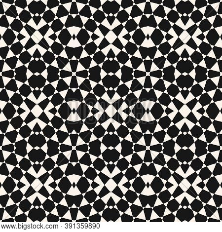 Vector Geometric Seamless Pattern. Abstract Monochrome Ornament. Black And White Checkered Texture.