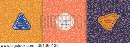 Vector Geometric Seamless Pattern Collection. Set Of Simple Colorful Background Swatches With Elegan