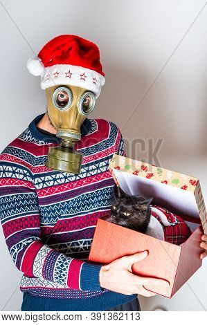 Man In Gas Mask Introducing His New Cat As A Christmas Gift In Package