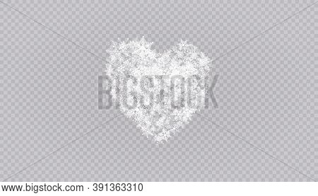 Heart Shaped Snowflakes In A Flat Style In Continuous Drawing Lines. Trace Of White Dust. Magic Abst