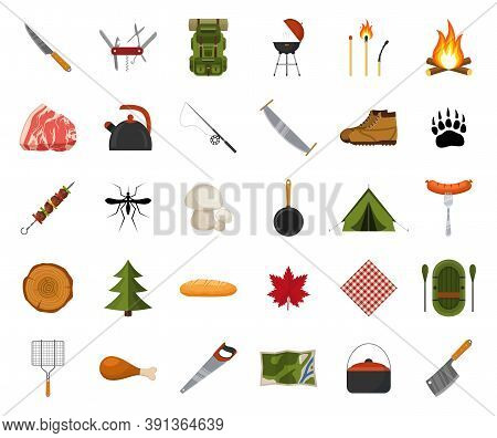Camping And Hiking Icon Set. Forest Hike Elements. Camp Gear Backpacker Collection Tourist Tent, Bac