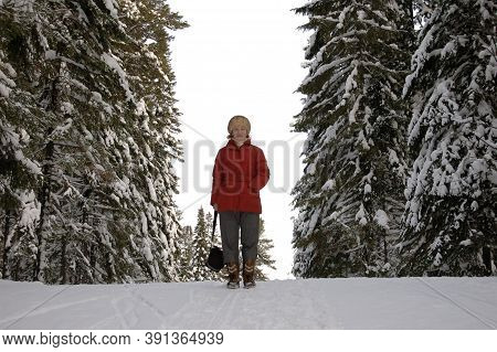Young Woman, Red Down Jacket, Posing, In Pima, Winter, Frost, Snow, Snowdrifts Resting Posing In The