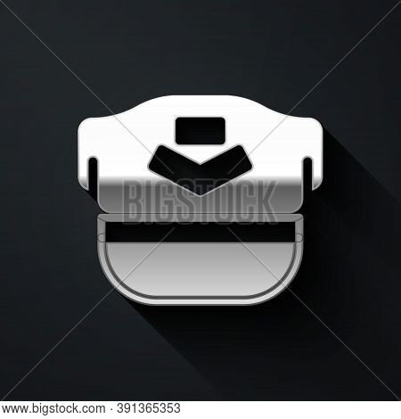 Silver Pilot Hat Icon Isolated On Black Background. Long Shadow Style. Vector