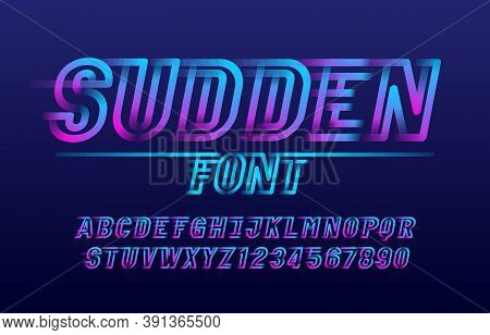 Sudden Alphabet Font. Fast Speed Effect Letters And Numbers. Stock Vector Typescript For Your Design