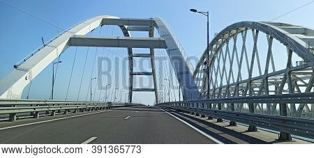 Cars Go On The Crimean Automobile Bridge Connecting The Banks Of The Kerch Strait: Taman And Kerch,