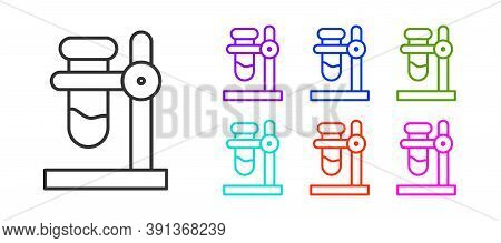Black Line Glass Test Tube Flask On Stand Icon Isolated On White Background. Laboratory Equipment. S