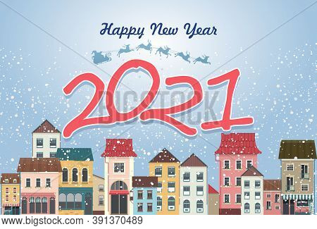 Greeting Card Festive Banner With Winter Cityscape, Small Cozy Town Figures Of Year 2021 On Night Ch