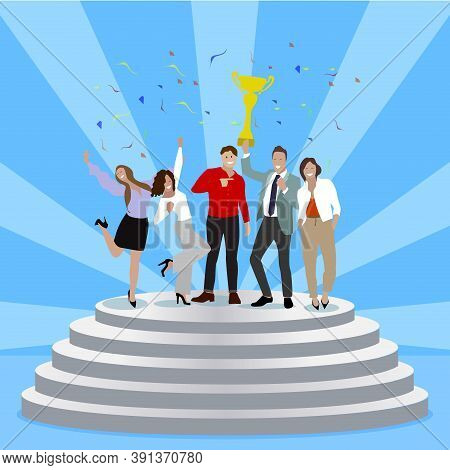 Successful Business Team Enjoying Achievement On Pedestal. Group Of Happy Partners Celebrate Win. Ve