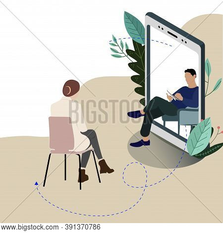Remote Mental Consultation At Psychologist, Individual Mind Therapy In Smartphone, Vector Helpline P