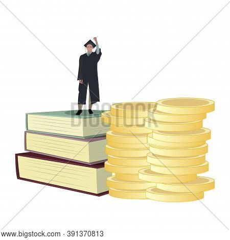 Student Get Scholarship To Study In University. Money Stack And Books For Graduation. Vector Educati