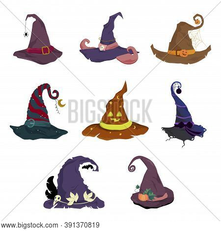 Halloween Hat Collection, Cap For Witch. Set Of Magic Hat Elf Or Dwarf, Horror Costume To Celebratio