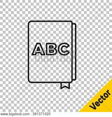 Black Line Abc Book Icon Isolated On Transparent Background. Dictionary Book Sign. Alphabet Book Ico