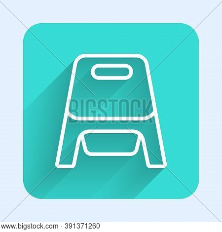White Line Baby Potty Icon Isolated With Long Shadow. Chamber Pot. Green Square Button. Vector