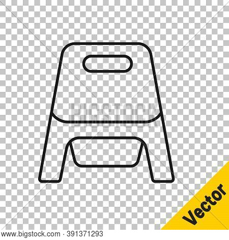 Black Line Baby Potty Icon Isolated On Transparent Background. Chamber Pot. Vector