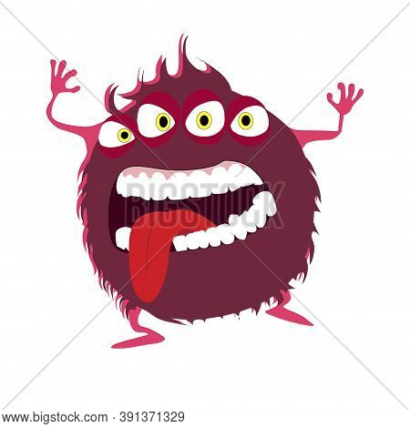Red Color Goblin With Devil Eyes, Goofy Toy Frighten Kids, Cheerful Mascot With Crazy Mouth Expressi