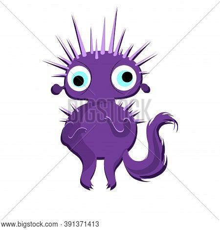 Purple Halloween Monster With Sharp Thorns And Long Tail. Vector Mascot Goblin Spooky, Bizarre Cute