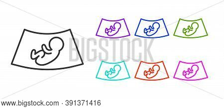 Black Line Ultrasound Of Baby Icon Isolated On White Background. Fetus. Set Icons Colorful. Vector