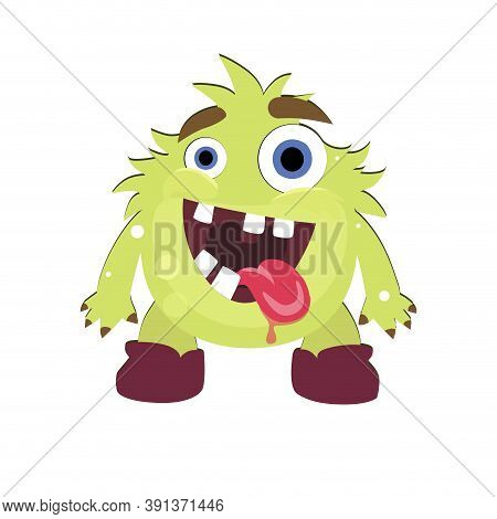 Mad Green Monster With Opening Mouth And Stick Out Tongue. Illustration Troll Halloween, Goofy Greml